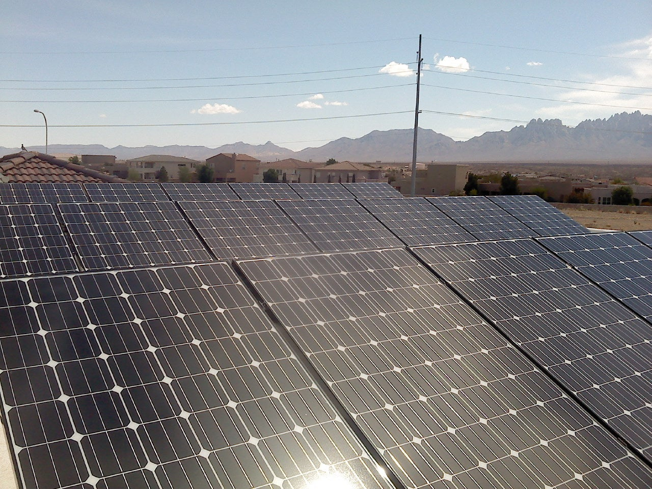 A Sunspot Solar PV system in front of the Organ Mountains.