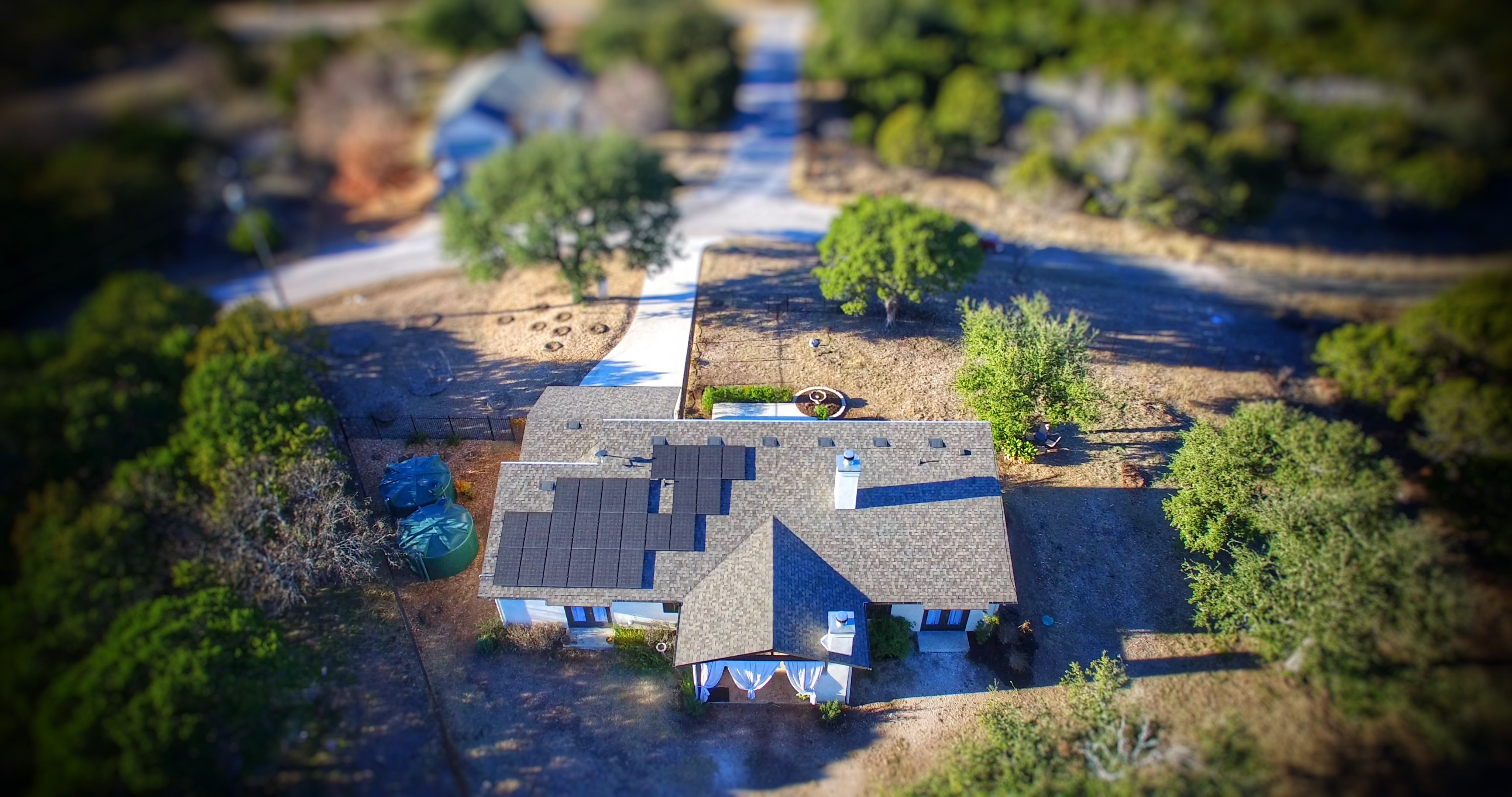 Residential Rooftop Solar Array Horseshoe Bay, Texas