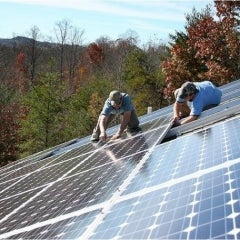Solar going up on a beautiful fall day