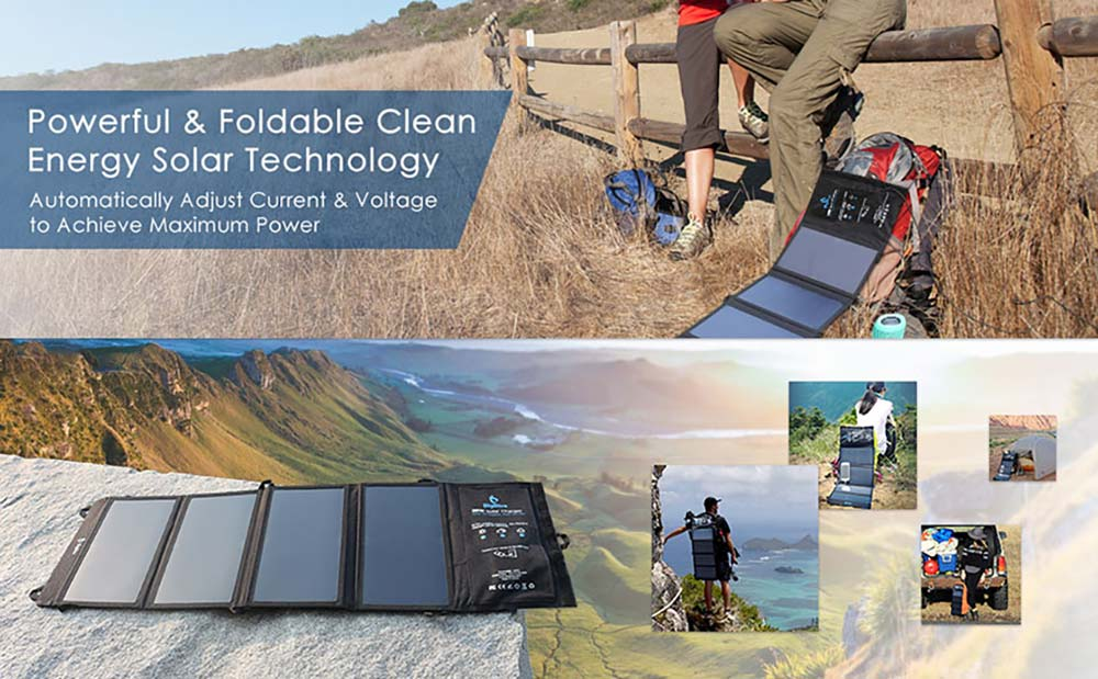 The four solar panels of the BigBlue 3 cell phone charger displayed on top of a rock. A man hiking with the charger attached to his backpack and two people standing next to a spread-out BigBlue 3 solar cell phone charger.