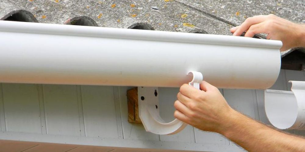 DIY gutter installation on a residential home