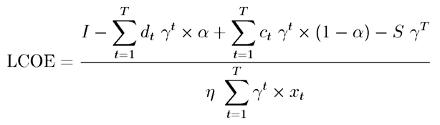 Formula to calculate LCOE