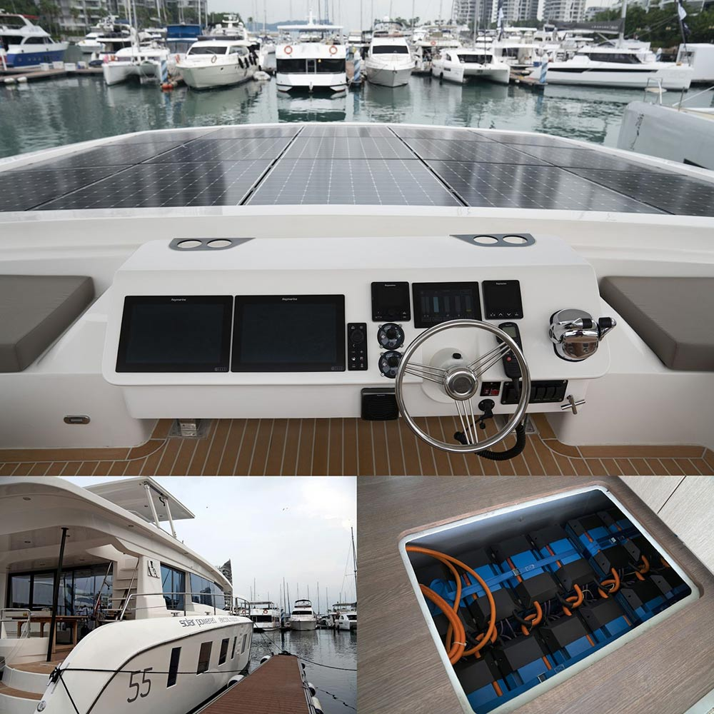 A collage of images that show: solar panels on the bow of the yacht, the yacht docked, and the yacht's battery pack.
