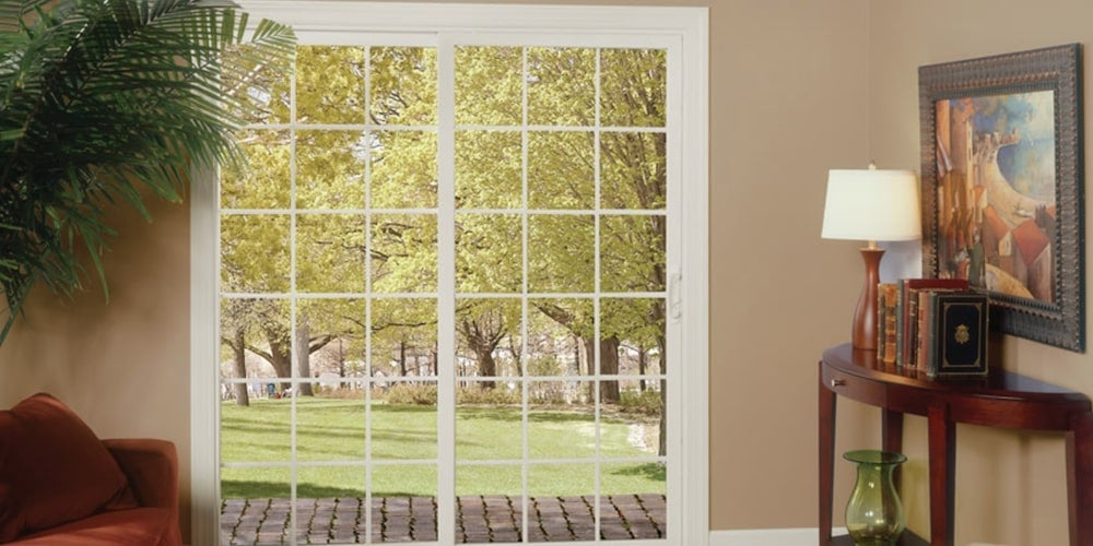 Alside 5100 sliding patio doors installed in a living room