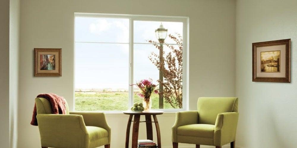 Alside Fairfield 70 Series vinyl windows installed in a sitting room