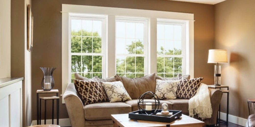 Alside Fusion Quality vinyl windows installed in a family room