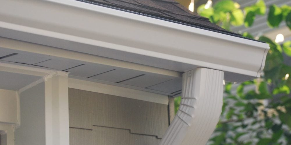Aluminum gutters on a residential home