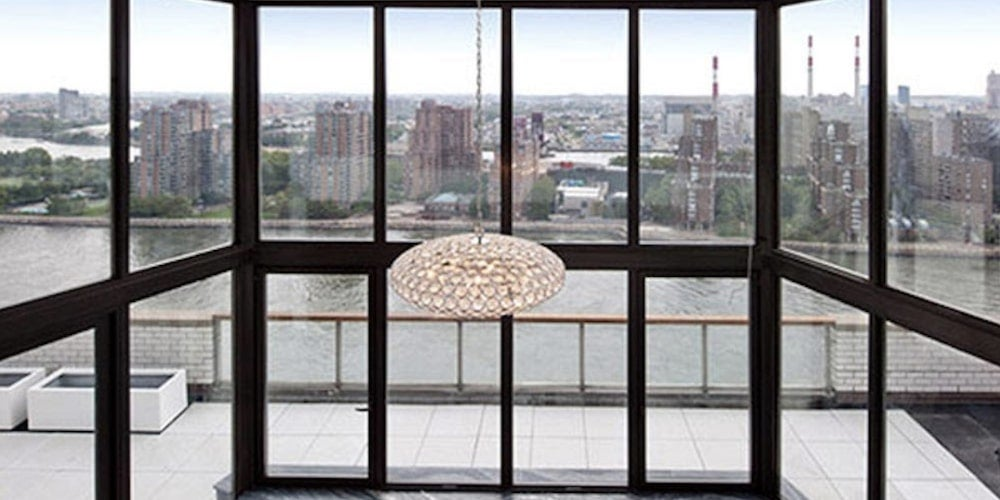 Aluminum picture window in an apartment building