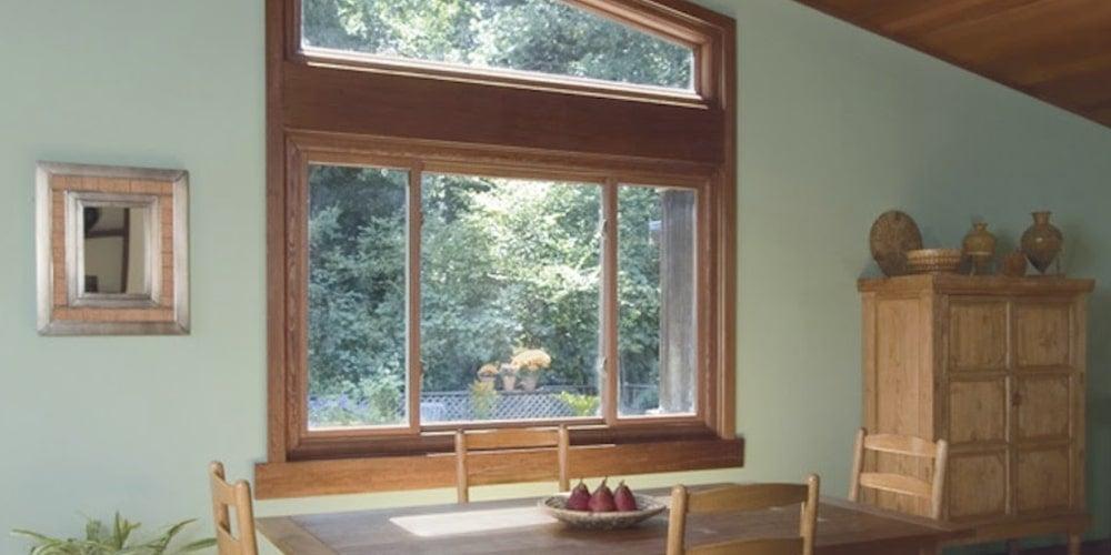Andersen bay window looking over a dining room