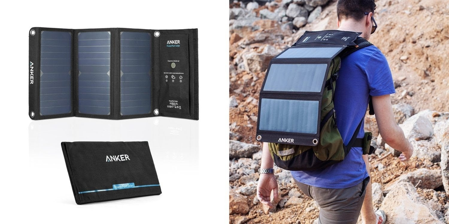 The three solar panels of the Anker cell phone charger being displayed. A man hiking with the Anker cell phone charger attached to his backpack