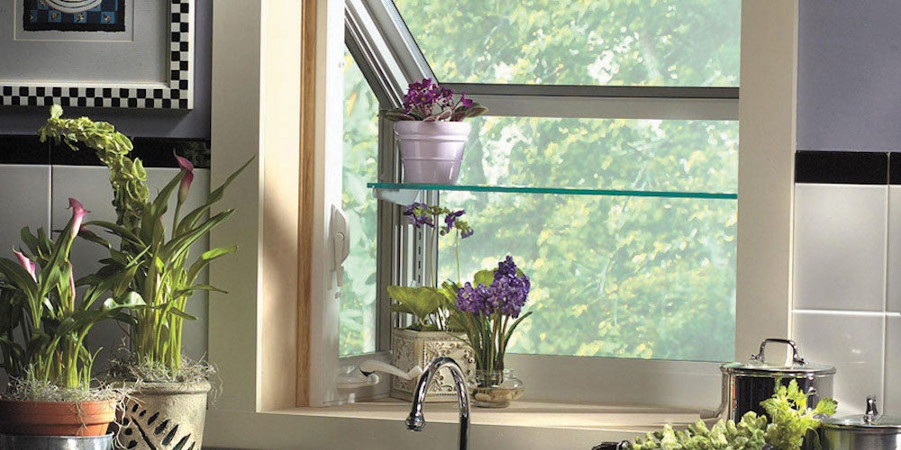 Kitchen garden window with two shevles and several plants within it