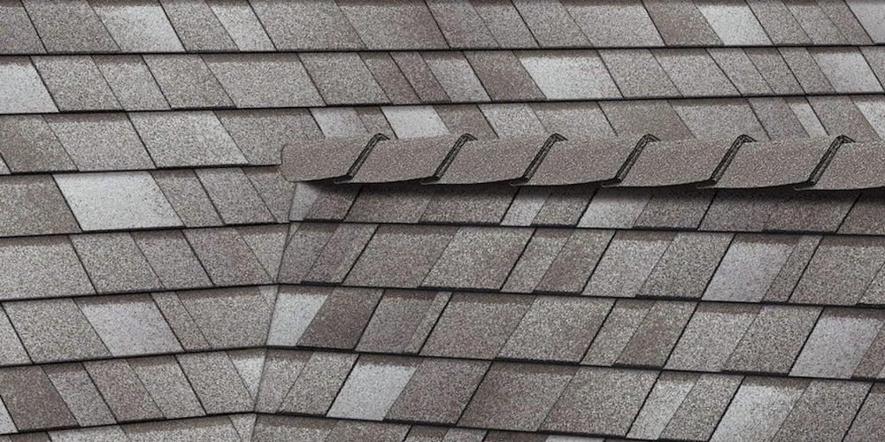 Asphalt shingles on a residential roof