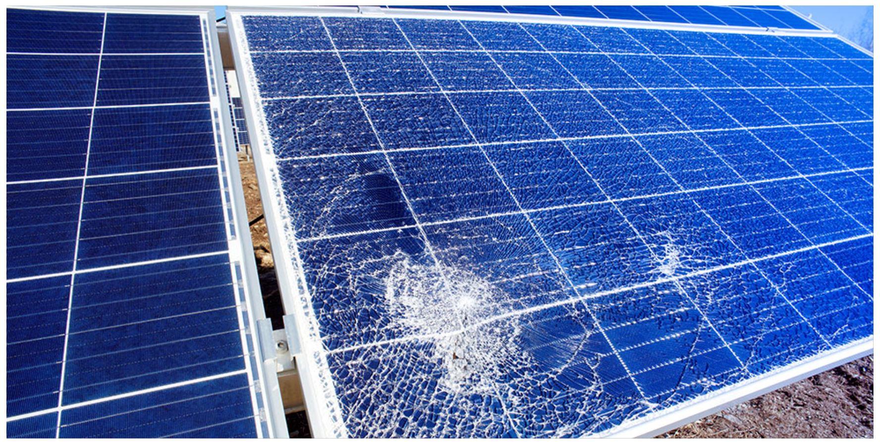 a damaged solar panel
