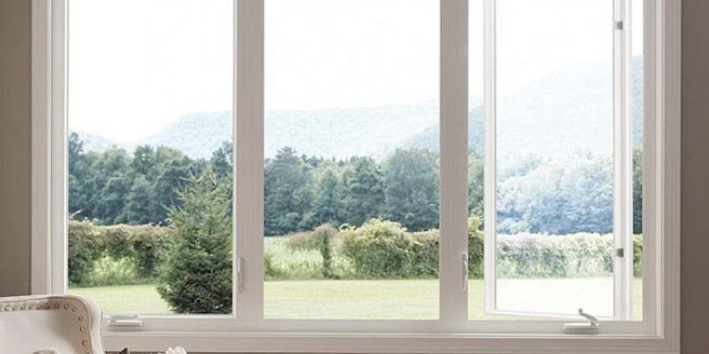 Casement windows looking out onto a lawn