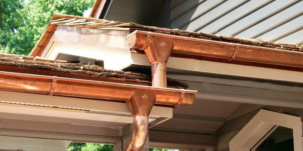 Copper gutters on a roof