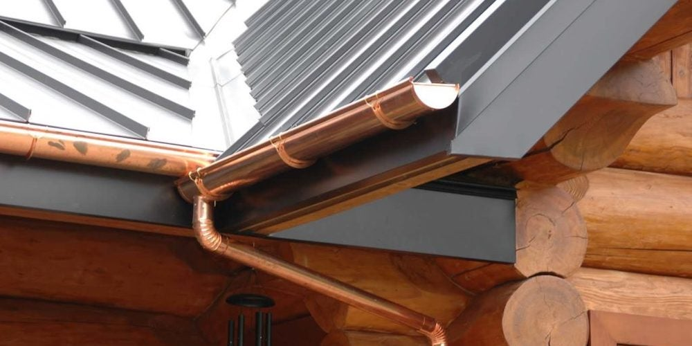 Copper gutters on a residential home