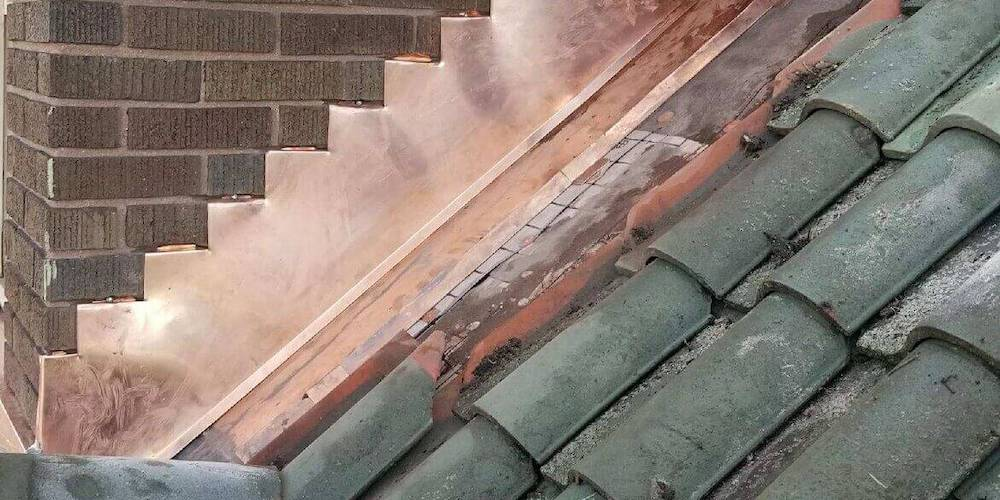 Copper flashing  on a residential roof