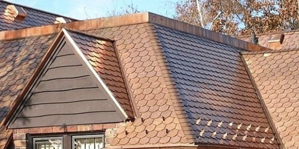 Copper roofing on a residential home