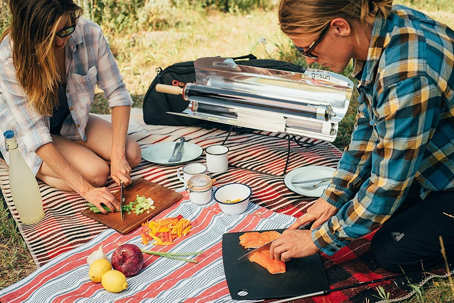 a couple having a picnic with a solar cooker