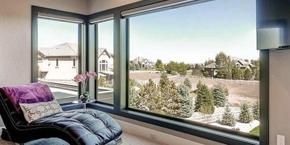 Fiberglass picture window in a sitting room