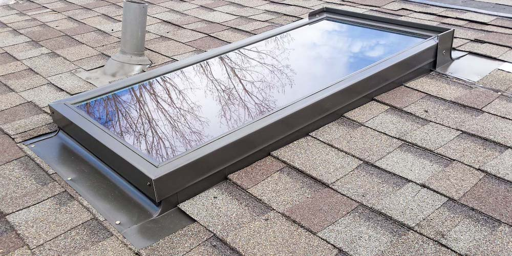 A fixed skylight on a residential roof