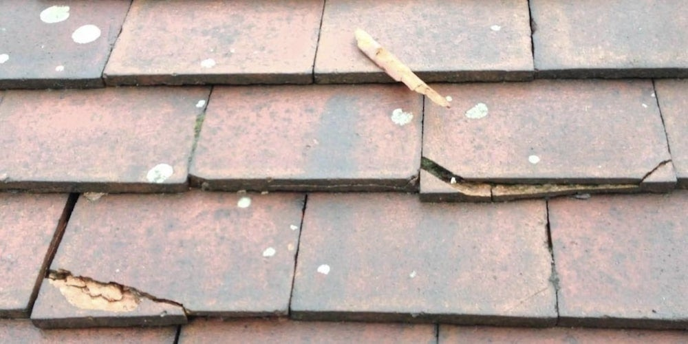 Cracked concrete roof tiles