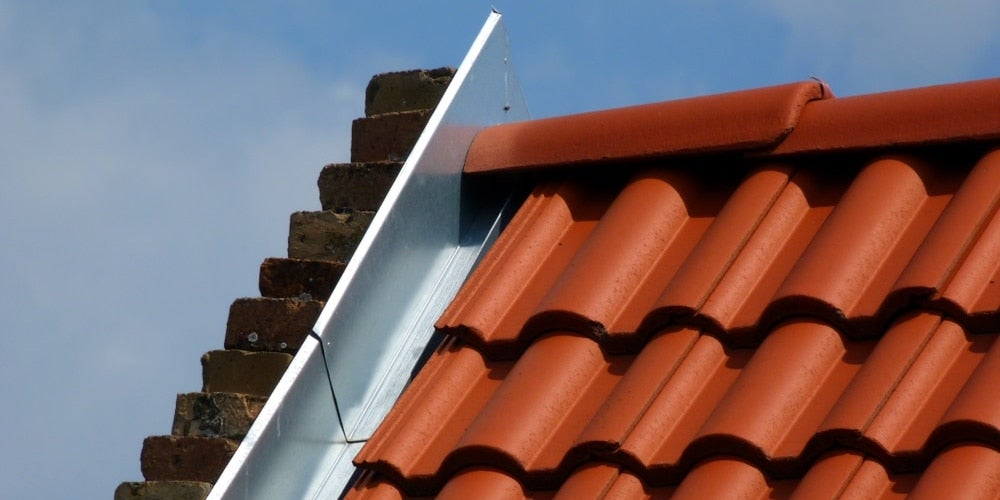 Galvanized steel flashing on a residential roof