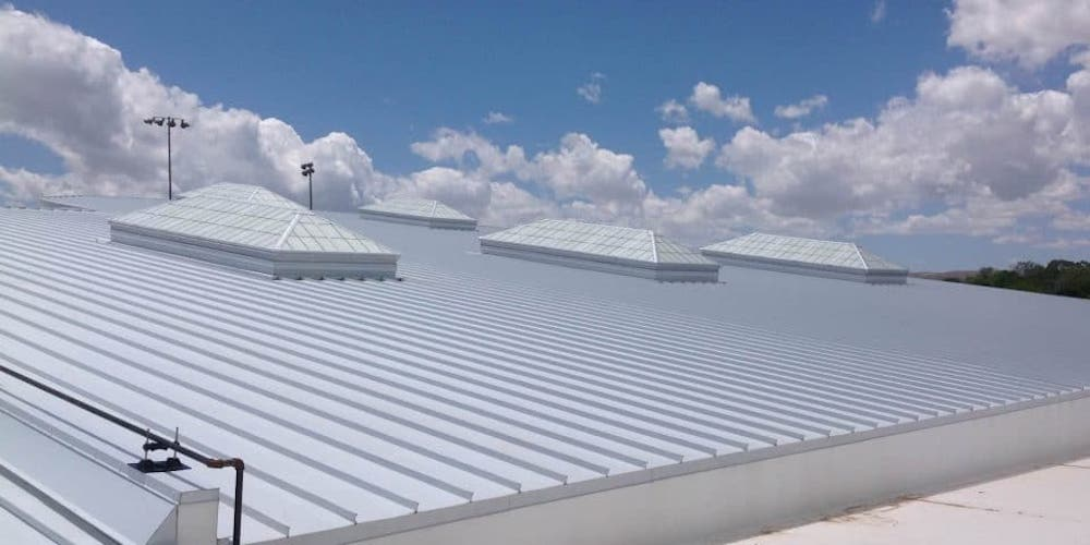Galvalume steel roof on a commercial building