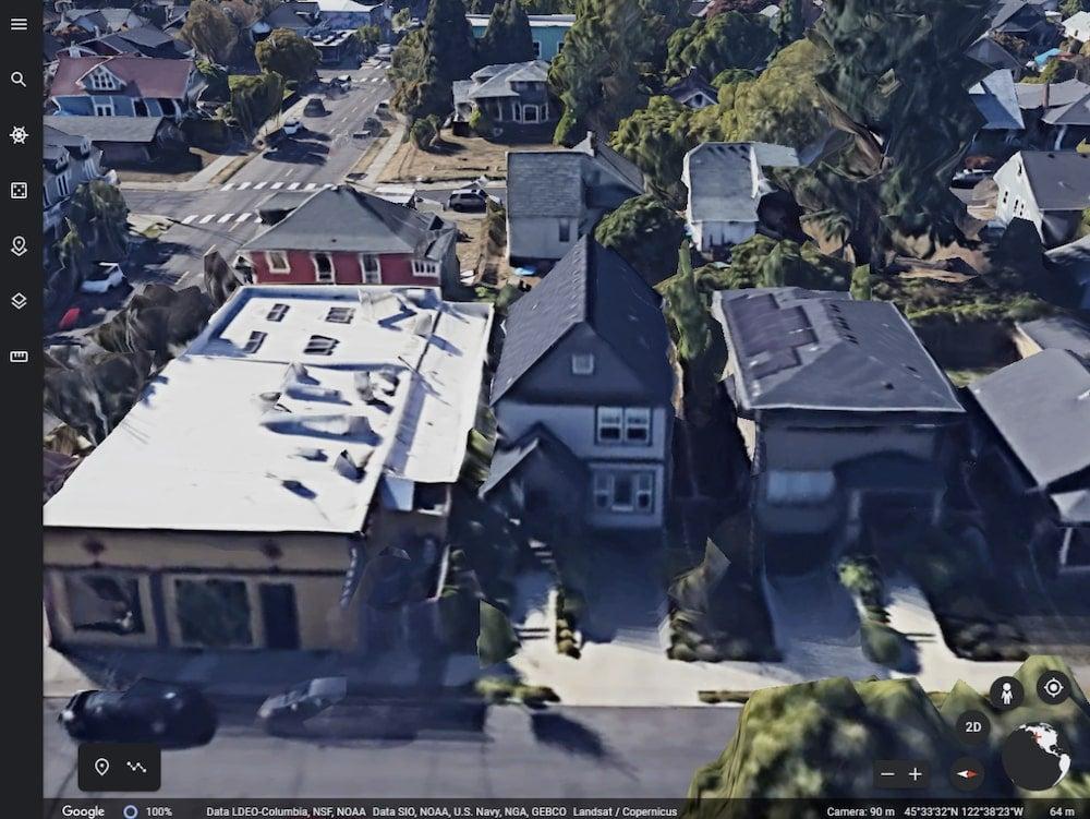 Google Earth over homes