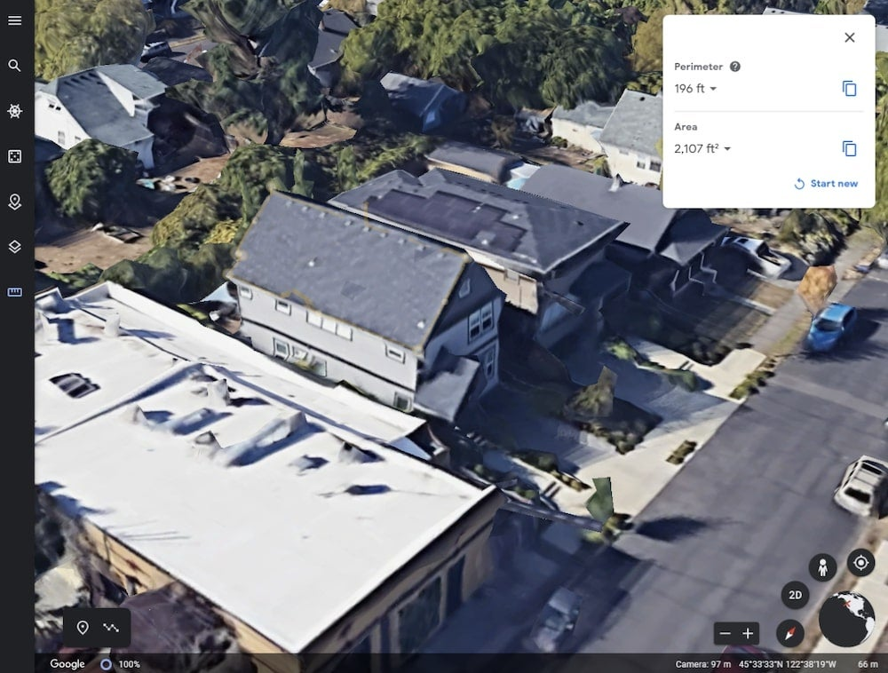 Google Earth roof perimeter