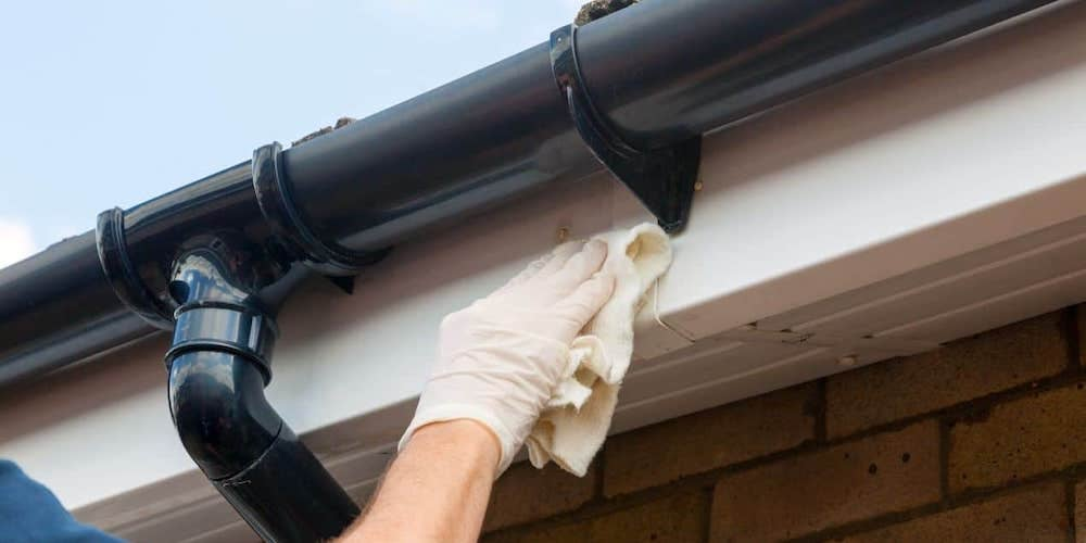 Gutters being replaced on a residential home
