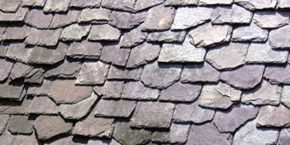 Hang-down staggered slate roof