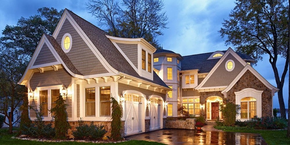 Suburban home with multiple roof peaks
