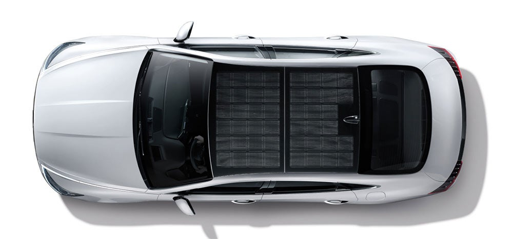 Aerial view of Hyundai solar car with roof covered with solar cells