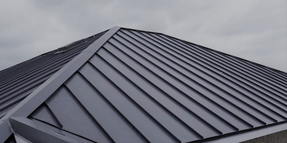 A metal roof on a residential home