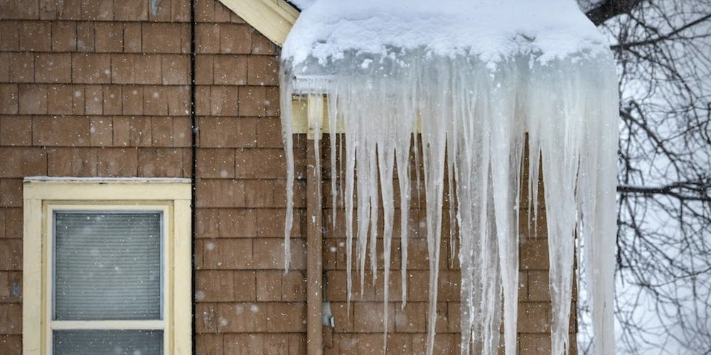 Ice dam on a residential roof