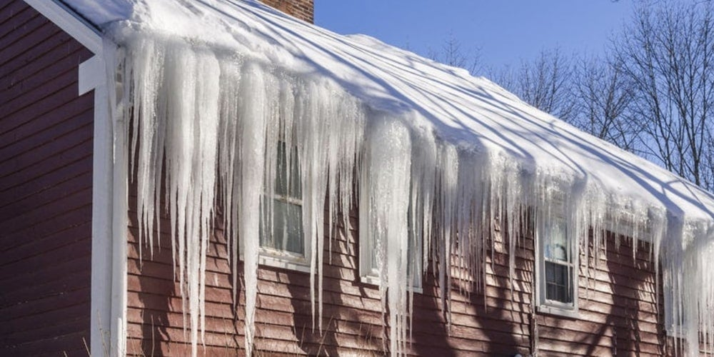 Icicles on a residential roof