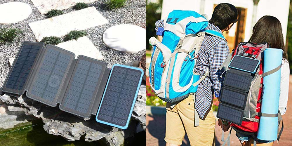 The Hiluckey solar phone charger spread out on a rock with its four solar panels on display.