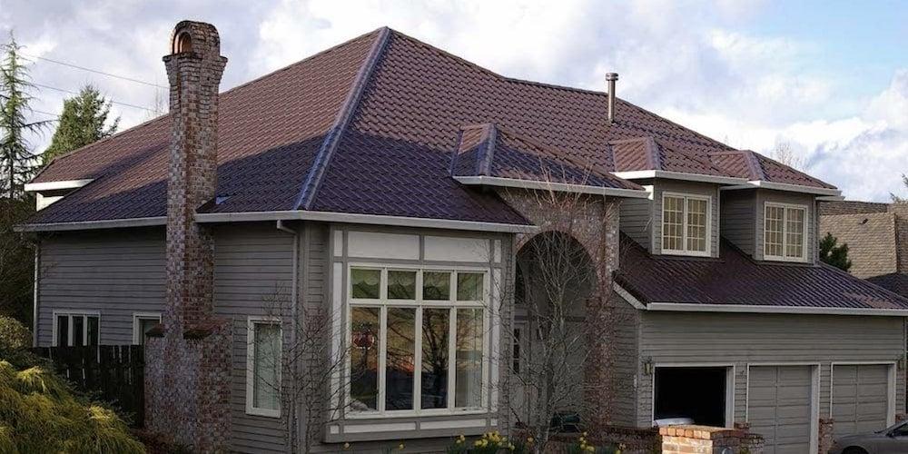 Interlock tile shingles on a residential roof
