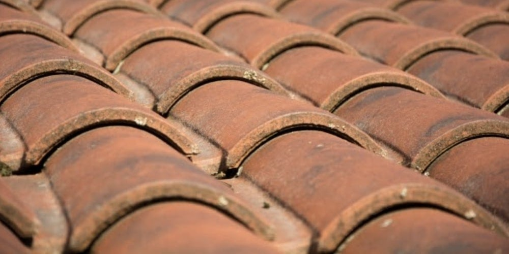 Rows of roofing tiles