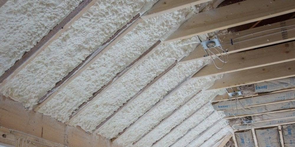 Spray polyurethane foam installed in an exposed attic