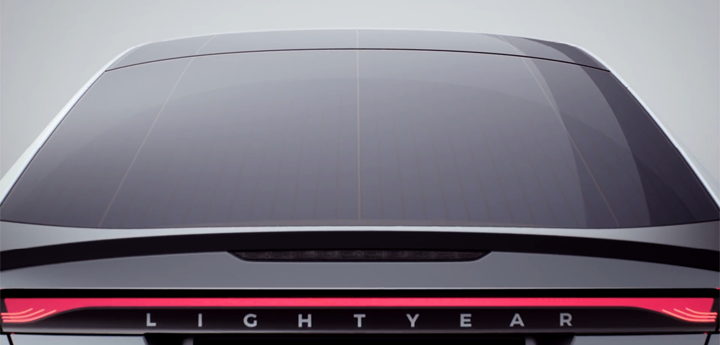 A rear view of the Lightyear One's Solar Panel Car Roof