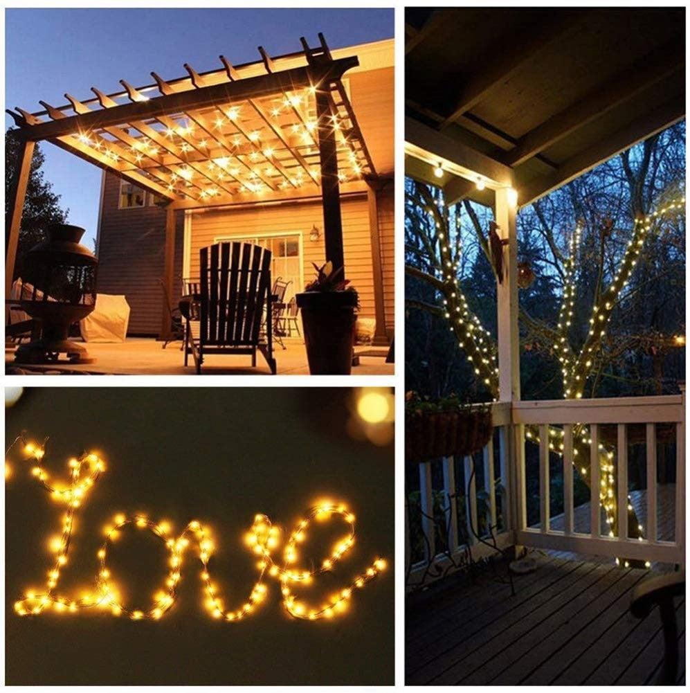 outdoor backyard solar-powered fairy lights