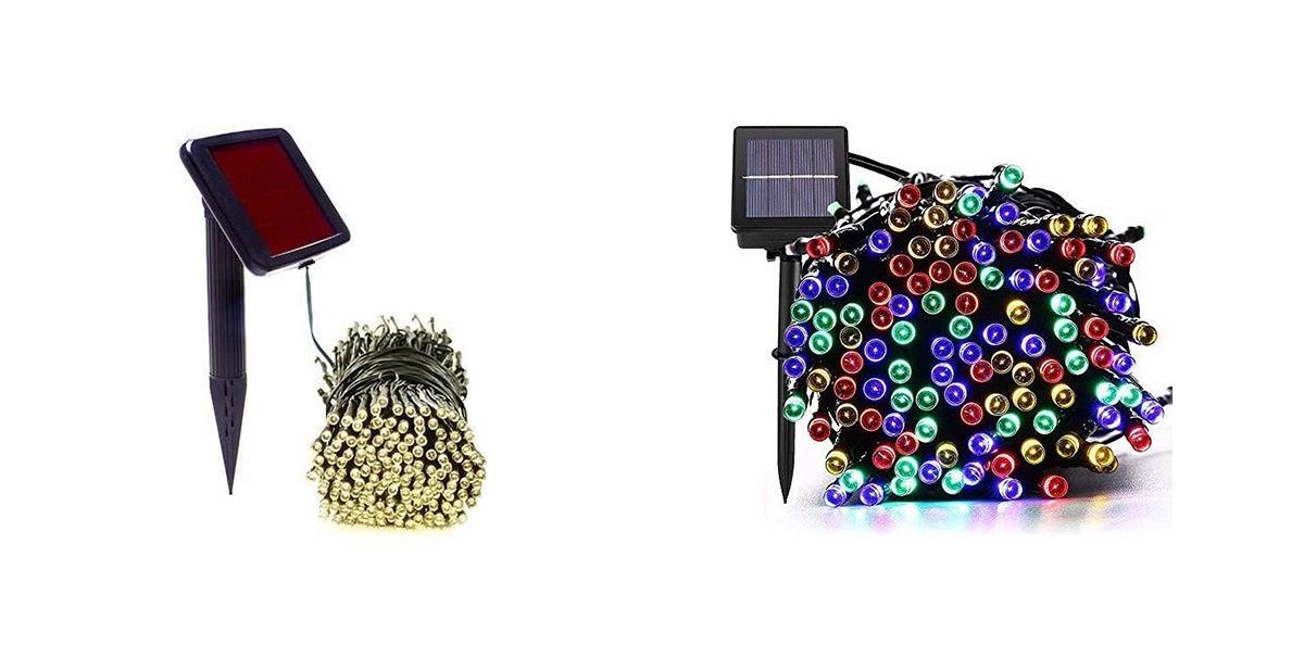 bundles of multi-colored christmas solar powered lights