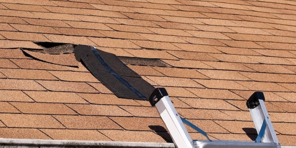 Damaged shingles on a residential roof