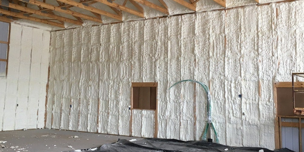Spray foam insulation in a new home