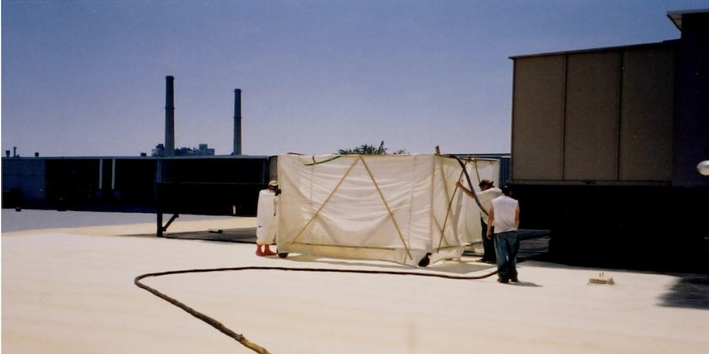Foam roof overspray