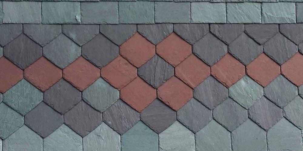 Patterned slate roof