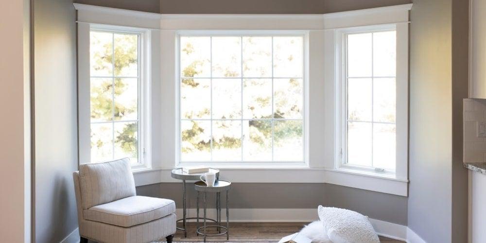 Pella bay windows in a bedroom