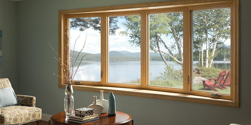 Bay windows looking out onto a lake